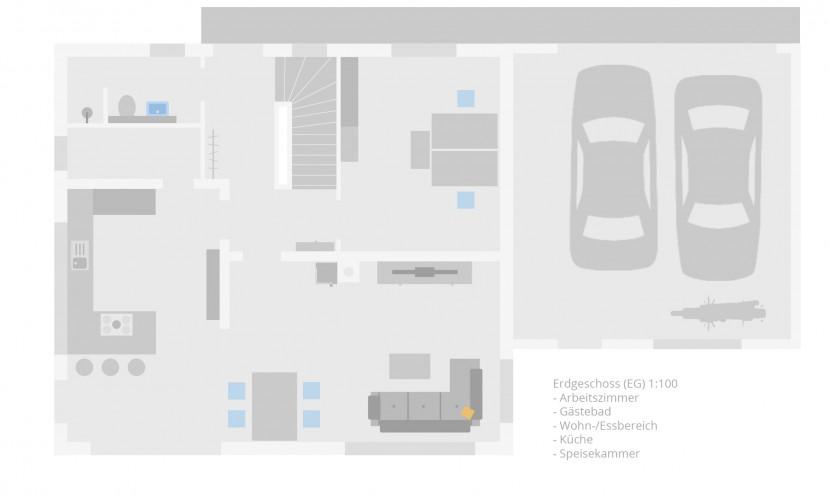 Unser Grundriss im Flat Design